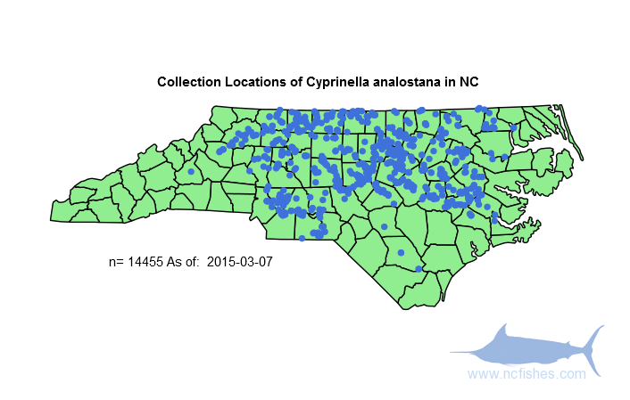 Cyprinella analostana Range in NC